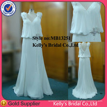 Deep V diseño Chemise gasa vestidos de dama de honor con encaje