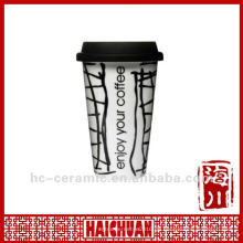 11 Unzen Porzellan Reise-Kaffeetasse mit Silikon-Deckel, Öko-Tasse