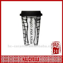 Taza de café de viaje de porcelana de 11 onzas con tapa de silicona, taza ecológica