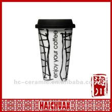 11 oz caneca de café de viagem de porcelana com tampa de silicone, eco cup