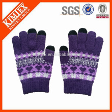 Fabrique des gants en tricot acrylique / gants jacquard / gants d'hiver
