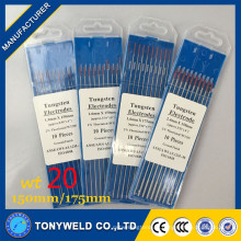 Électrode de soudage au tungstène dans les tiges de soudure wt20 2.4 * 150 électrode Thoriatedtungsten