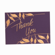 Tarjeta de agradecimiento de papel a todo color con estampado en caliente