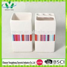 Venta al por mayor de cerámica blanca pura con conjunto de baño Decal
