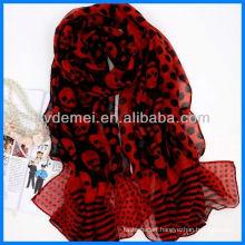 Latest skull design printed voile scarf