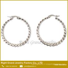 Taille personnalisée torsadée Meilleur endroit pour acheter des boucles d'oreilles Boucles d'oreilles à anneau articulé en or blanc