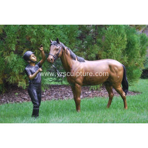 Garden Life Size Bronze Man and Horse Statue