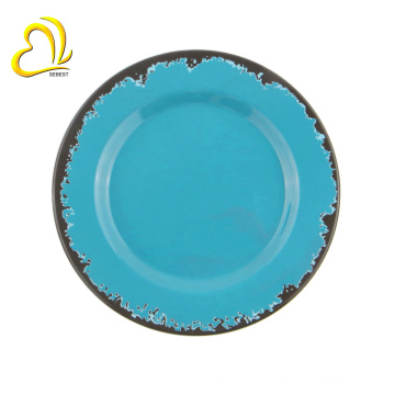 Placas de prato de plástico redondo placas de melamina placas de carregador por grosso