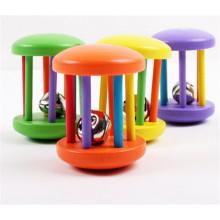 Instrumento musical de juguete portátil Sonajero de madera para bebé