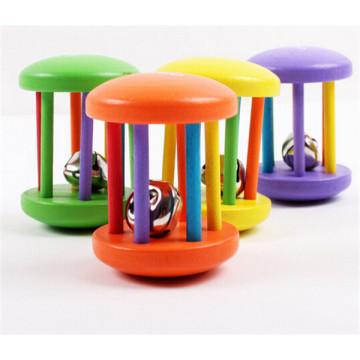 instrumento musical do brinquedo handheld chocalho de madeira do bebê