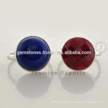 Bijoux en bijoux en pierres naturelles, en gros Vermeil Gold Semi-precious Gemstone Bezel Rings Supplier