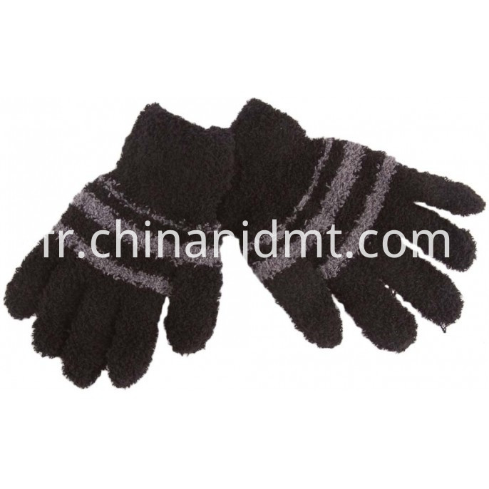 Kid S Cosy Stripe Gloves Blk