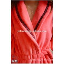 Sexy Comfortable Women fleece bathrobe with Lace Whosale