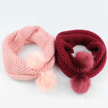 Beautiful winter accept custom logo knitted scarf pom pom women 2016 chunky
