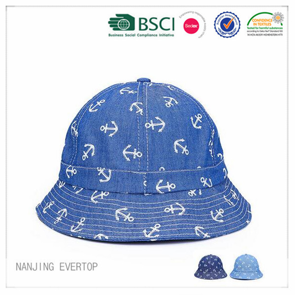 Custom Full Printing Cotton Denim Bucket Hat