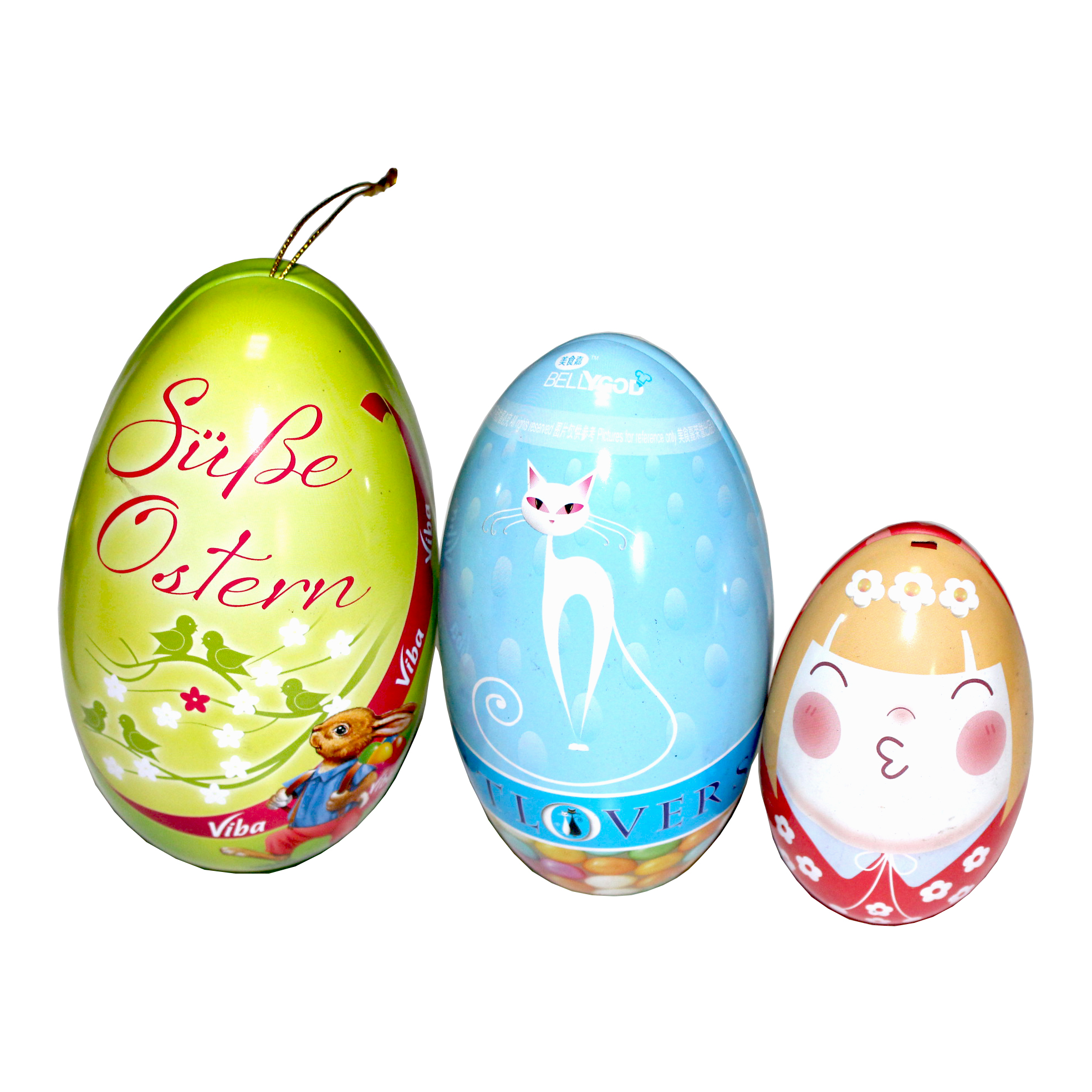 Egg shape candy tins