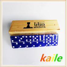 Double six white paint blue domino set with wooden box
