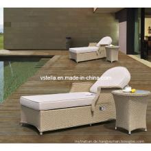 Wicker Rattan Outdoor Rattan Chaise Lounge mit Beistelltisch