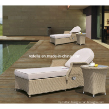 Wicker Rattan Outdoor Rattan Chaise Lounge with Side Table