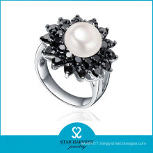 Rhodium Plated Sterling Silver Pearl Ring Designs (SH-R0519-2)