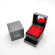 Caixa de presente dobro da gaveta de empacotamento da flor com espelho