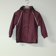 Dark Wine PU Reflective Rain Jacket for Children/Baby