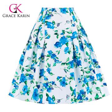 Grace Karin 10 Patterns Occident Women Vintage Retro Floral Pattern Jupe en coton CL008925-1