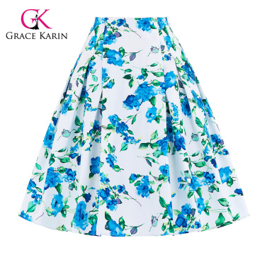 Grace Karin 10 Patterns Occident Women Vintage Retro Floral Pattern Cotton Skirt CL008925-1
