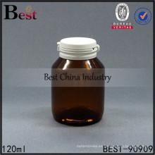 Botellas de cristal ambarinas vacías de 120ml botella de cápsulas de la forma redonda de gama alta única, 1-2 muestras libres