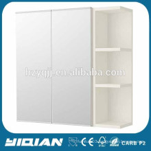 White Matt Painting Double Door Open Shelf Bathroom Mirror Cabinet