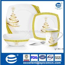 Cubiertos cuadrados de porcelana conjunto de platos reales cena dorada plana con tazón y taza de conjunto
