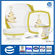 square porcelain flatware set royal golden dinner flat plates with bowl and mug set