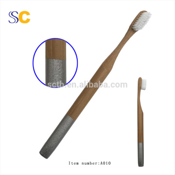 Natural Bamboo Toothbrush Round Colourful  Handle