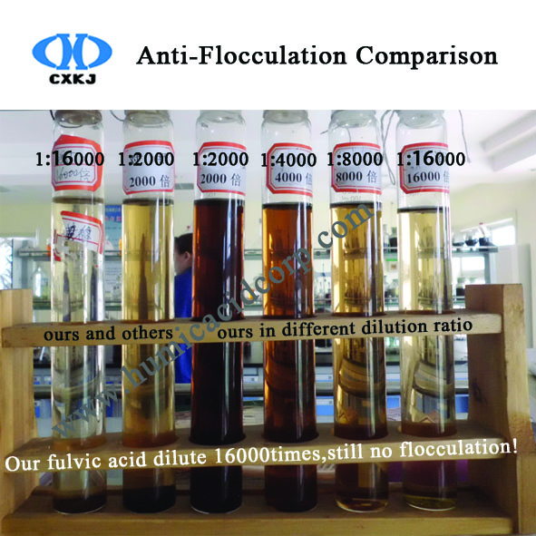 anti-flocculation of fulvic acid