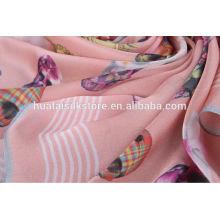 100% Tissu de soie imprimé numérique pour écharpe ou vêtement