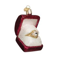 Personized Design Wedding Ring In Box Blown Glass Christmas Ornament