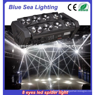Heißer Verkauf doppelte Reihe 8 Augen geführtes bewegliches Hauptlicht 8 * 12w RGBW 4IN1 führte Spinnenlicht