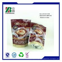 Hochwertige Plastik flache Unterseite Reißverschluss-Nahrungsmittelverpackungs-Beutel, trockene Nahrungsmittel-stehende Reißverschluss-Beutel