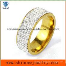 Relleno piedras de acero inoxidable chapado en oro hombres y mujeres anillo de joyería (czr2573)