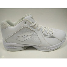 Men′s White PU Sports Basketball Shoes