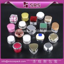 Srs vente chaude 5g 10g petit pot en plastique, échantillon gratuit 5ml10ml plastique cosmétique mini jar, crème acrylique petit pot pour vernis à ongles