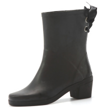 Black High Heel And Lace Women Rubber Boots