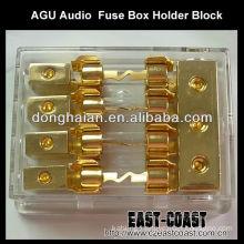 Car AGU Audio 80A Amp 1 In 2 Out Box Fuse Holder Block 4GA In 8GA Out