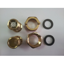 Brass Water Meter Connector with Yellow Brass Color
