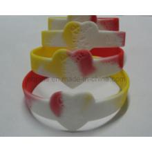 Pulsera de colores segmentados con logotipo Debossed