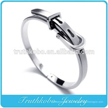TKB- BA0006 Joyería de acero inoxidable para hombres Brazalete de hebilla de cinturón de plata Pulsera clásica