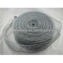 Серебряный чистящий рулонный скруббер, металлическая мочалка, сетчатый мочалка оцинкованный сетчатый рулон