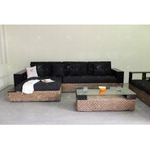 Muebles de mimbre de alta calidad sofá de jacinto de agua para sala de estar interior