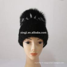 chapeau de tricotage de haute qualité de fourrure de vison