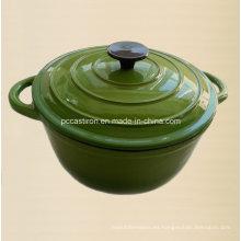 Vajilla de hierro fundido verde con acabado de esmalte China Factory